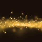 Gold glittering stars dust trail background